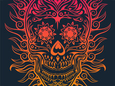 Calavera de fuego T-Shirt Design by
