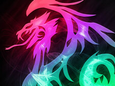 Tribal Dragon In Neon T-Shirt Design by