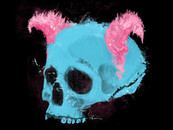 Pink Horned Skull by Tatevos