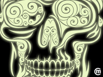 Swirly Skull T-Shirt Design by