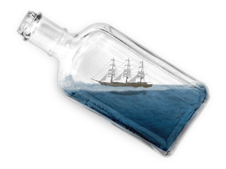 Ship in a Bottle by beecombs