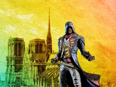 Arno with Notre Dame at sunset T-Shirt Design by