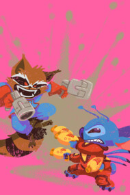 Rocket Racoon vs Stitch: aliens fight