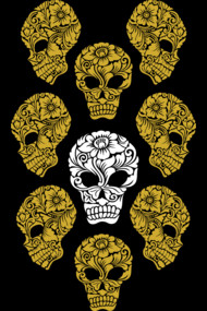 White and gold skull heads
