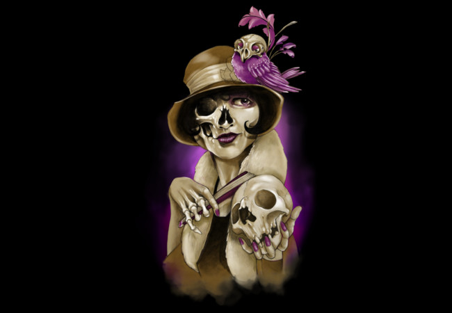Pin Up Lady Skull Bird