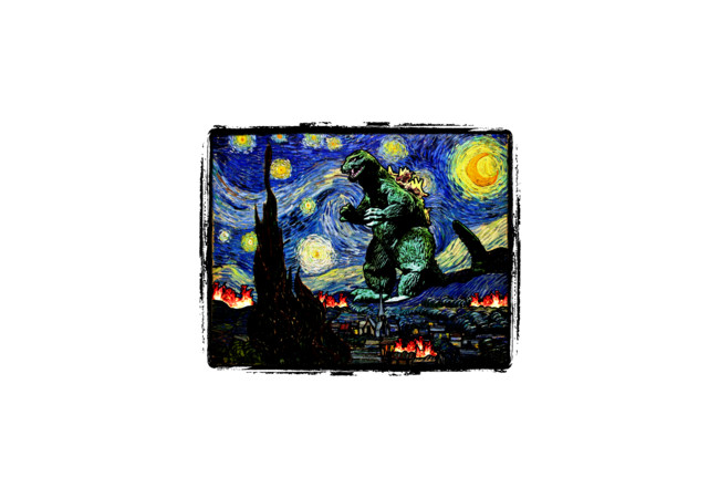 Godzilla versus Starry Night  Artwork