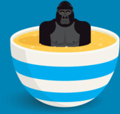 Gorilla in custard