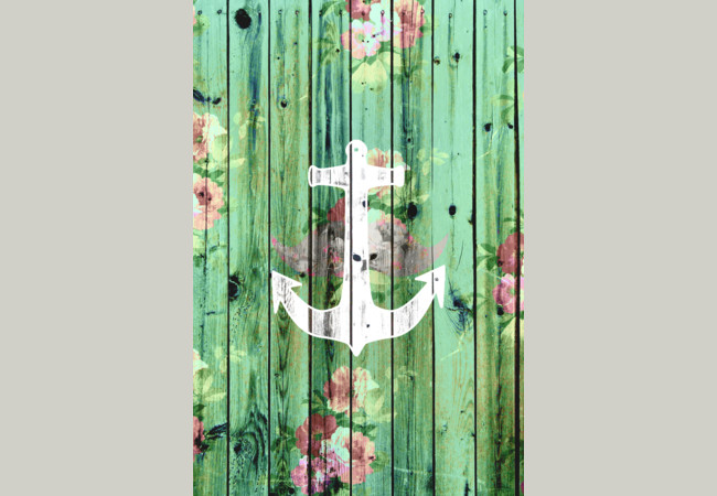 Vintage Floral Nautical Anchor Green Beach Wo  Artwork