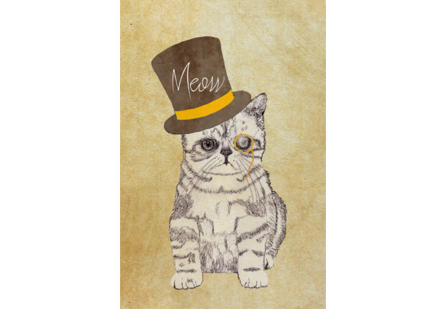 Funny Cute Kitten Cat Sketch Monocle and Top   Artwork