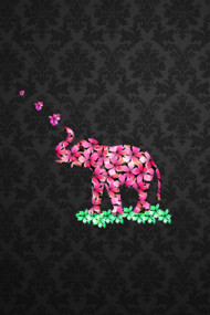 Retro Flower Elephant Pink Sakura Black Damas