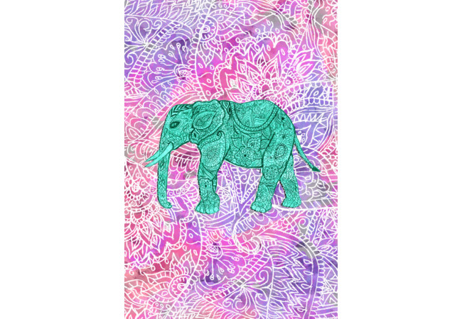 Teal Tribal Paisley Elephant Purple Henna Pat  Artwork