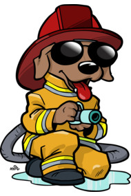 Firefighter cartoon dog