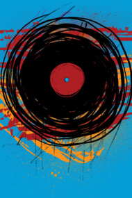 Vinyl Record Grunge Paint and Scratches - Music DJ Art
