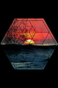 Sunset At Sea - Waves Ocean Beach - Geometric Abstract Polygonal by ddtk