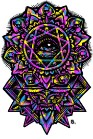 Eye of God Flower Mandala Neon 80s