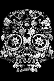 Distressed floral Day of the Dead Skull