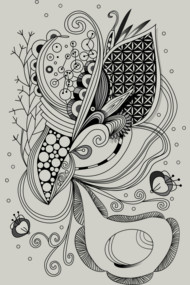 Zentangle of joy and vibrant nature