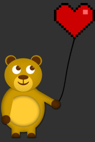 Teddy with a pixel heart balloon