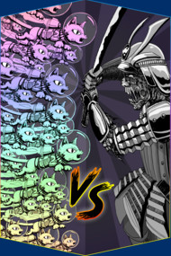 Rainbow Space Kittens VS Samurai Zombie Warlord