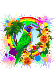 Rainbow Lorikeet Tropical Colors Explosion