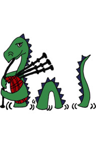 Funny Loch Ness Monster Playing the Bagpipes