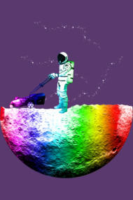 Astronaut Mowing the Moon Neon
