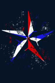 American Flag Nautical Star - Grunge
