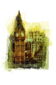 London Big Ben - watercolor art