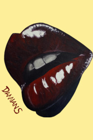 Bitten - Lips painting by Damian Smith