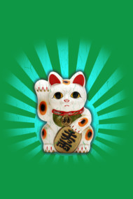 Maneki-Neko Lucky Cat (vintage distressed look)