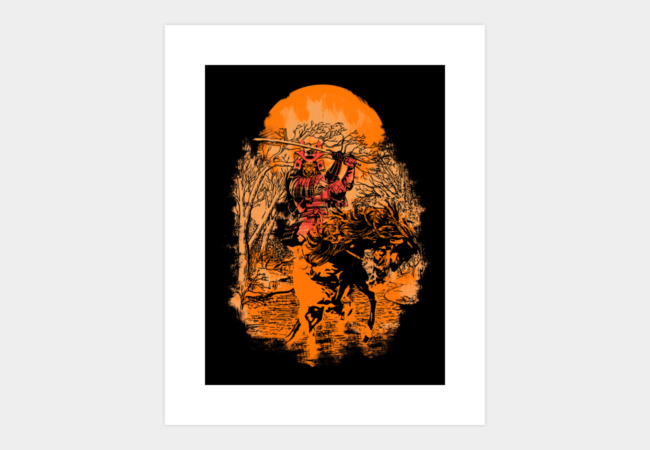 Samurai Flames Art Print - Design By Humans