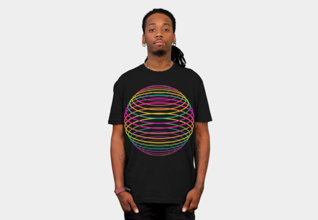 Neon Strings of Globe T-Shirt - Design By Humans