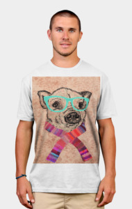 Funny Cute Pig Drawing Teal Geek Hipster Glas