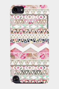 Girly Pink White Floral Abstract Aztec Patter
