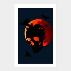 Skull crows on blood moon